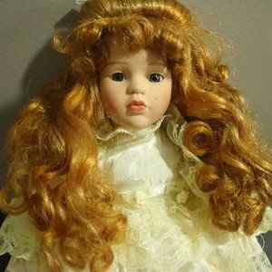 Porcelain Doll Long reddish long Curly Hair white